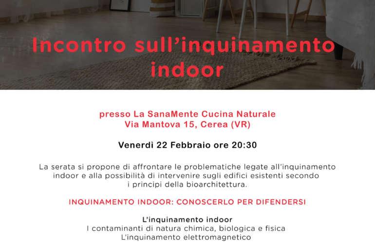 """Incontro sull'inquinamento indoor"" venerdì 22 febbraio, via via Mantova 15, Cerea, Verona."